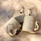 貓咪馬克杯帶蓋勺陶瓷杯子創意個性潮流辦公室簡約ins家用咖啡杯 【夏日新品】
