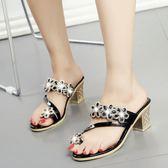 韓版時尚涼鞋水鑽沙灘羅馬涼鞋一字拖粗跟鞋女鞋