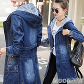 牛仔外套女裝新款韓版長袖連帽牛仔外套加大碼女中長款修身風衣潮快速出貨