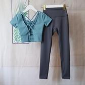 專業高端瑜伽服女夏天薄款時尚性感氣質仙氣網紅速干健身運動套裝 怦然心動