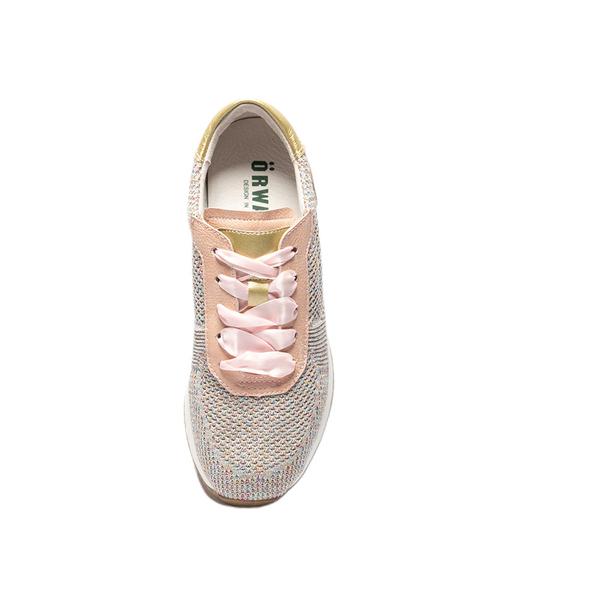 ORWARE-金蔥飛線針織休閒鞋652131-08粉