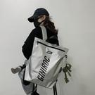 後背背包女潮酷工裝機能大容量高中大學生韓版原宿ulzzang書包女 韓國時尚週