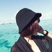 春夏帽子女士小禮帽黑色白色棉麻漁夫帽