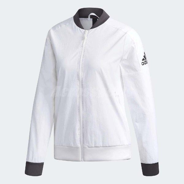 adidas 外套 ID Woven Jacket 白 黑 女款 飛行夾克 運動款 【PUMP306】 DM5258