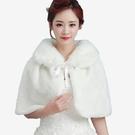 喜慶宴會新娘仿皮草保暖秋冬毛披肩 (白  紅)二色  11972009