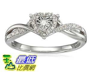 [美國直購] Sterling Silver Diamond Heart Twisted Ring (1/10cttw, I-J Color, I3 Clarity), Size 7 戒指