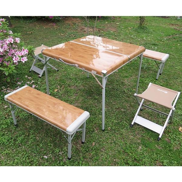 【買再送戶外廚台】ADISI 竹風家庭休閒組合桌椅AS15043/城市綠洲專賣(戶外露營、折合桌、收納桌子)