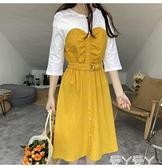 中袖洋裝 磚貴款超值文藝復古中袖黃色拼接連身裙 愛丫 免運 交換禮物