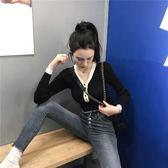 撲啦啦 韓風Chic拼色V領修身長袖針織衫女秋季新款氣質學生上衣薄 草莓妞妞