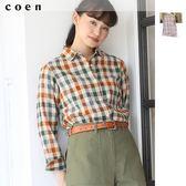 亞麻 格紋上衣 格子襯衫 2018秋冬 日本品牌【coen】