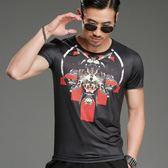 短袖T恤男 韓版休閒上衣 潮流 夏季歐美風個性印花T恤絲光燙鉆修身T恤小衫wx3542