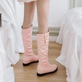 冬季新款女長靴低跟中筒靴百搭內增高女鞋 萬客居
