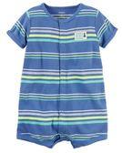 Carter's 連身衣 包屁衣  藍色條紋圖案短袖連身衣