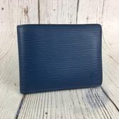 BRAND楓月 LOUIS VUITTON LV M64560 藍色 EPI 橫紋 水波紋 短夾 皮夾 錢包