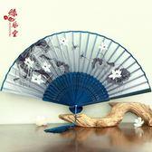 絲藝堂日式折扇中國風女式扇子絹扇櫻花和風工藝古風折疊小扇女扇 全館八八折鉅惠促銷
