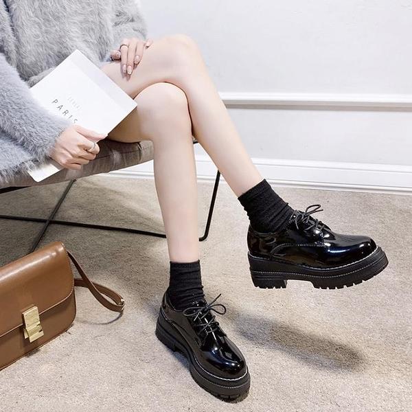 英倫風JK制服日系圓頭小皮鞋女2020秋季新款百搭厚底黑色軟皮單鞋 艾瑞斯