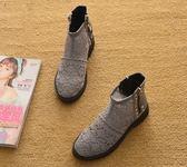 2018新夏季平跟短靴單靴平底馬丁靴鏤空靴短筒厚底網靴涼靴女靴子「時尚彩虹屋」