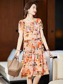 短袖洋裝連身裙大碼L-4XL印花雪紡連身裙裙子女夏氣質減齡中長裙潮NB11B依佳衣
