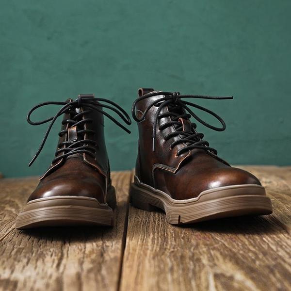 馬丁靴男款 ins馬丁靴男高幫鞋冬季新款 英倫風韓版百搭潮真皮中幫工裝靴