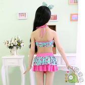 可愛女童泳衣寶寶女孩分體裙式碎花兒童比基尼游泳衣套裝