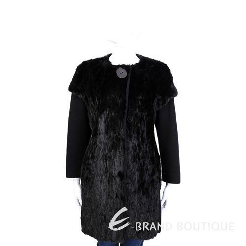 GRANDI furs 黑色拼接袖貂毛皮草外套 1440001-01