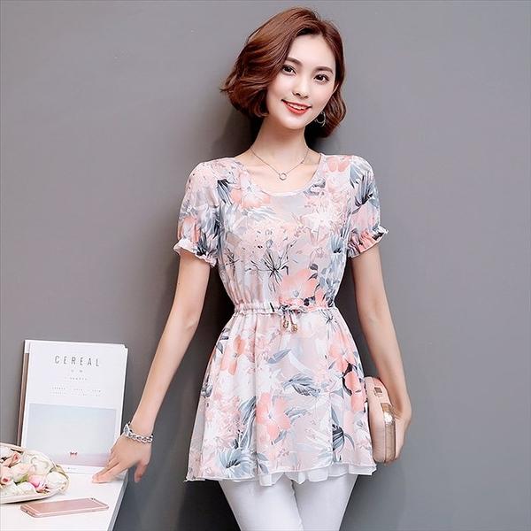 找到自己 G5 韓國時尚 新款 女裝 碎花 短袖 雪紡衫 女 上衣