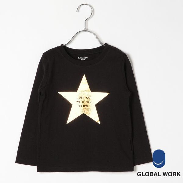 GLOBAL WORK童素色條紋圓領光澤星星字母印樣長袖T恤-四色