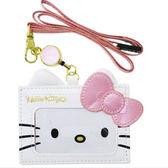 Sanrio HELLO KITTY可愛大臉珠光車票/證件套附可伸縮頸帶(粉蝴蝶結)★funbox★_45037N