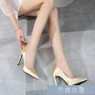 偽娘鞋35-46大碼季新款偽娘大碼超高跟細跟尖頭紅色綢緞CD定制女單 快速出貨