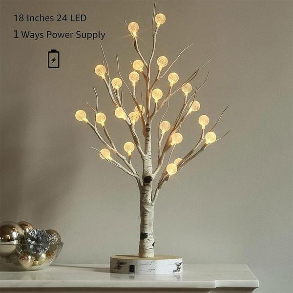 桌面植皮樺樹60釐米24LED樹燈鬥音直播裝飾燈婚禮派對聖誕小夜燈 微愛家居
