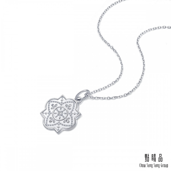點睛品 V&A bless系列 18KW白金鑽石項鍊