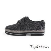 【Joy&Mario】派對金蔥格利特草編厚底鞋-51213W BLACK