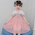 洋裝 女童漢服夏裝洋裝連衣裙中國風仙女裙子小女孩雪紡公主裙古裝兒童女夏 快速出貨