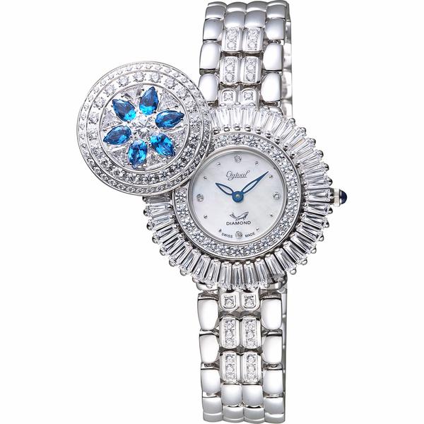 Ogival愛其華 花開富貴真鑽珠寶錶-珍珠貝x銀/32mm 380-55DLW