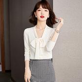 S-2XL長袖針織衫~輕柔細滑 柔和白色 襯衫飄帶款針織衫外套開衫NC400A日韓屋