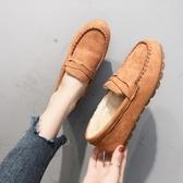 單鞋 豆豆鞋女平底單鞋牛筋軟底加絨棉鞋舒適懶人鞋媽媽鞋【全館上新】