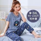 睡衣女夏季純棉短袖長褲兩件套寬鬆加肥加大碼胖mm套裝春秋『小淇嚴選』