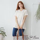 【Tiara Tiara】百貨同步 俐落V領純色中長版短袖上衣(白/藍/淺藍)