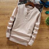 中國風男裝亞麻料T恤中式復古上衣純棉麻布長袖純色t?小衫潮 優家小鋪