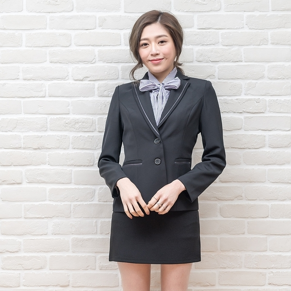 西裝外套職業服/滾領平帶兩釦黑西裝外套【Sebiro西米羅男女套裝制服】028001503