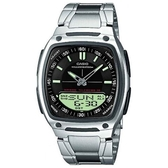 【CASIO】10年電力方款商務型男不鏽鋼雙顯錶-黑面(AW-81D-1A)