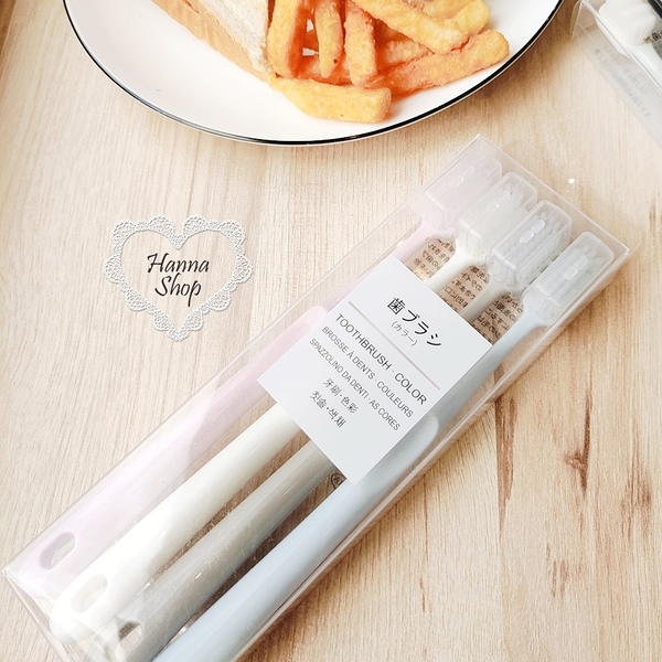 《花花創意会社》日本外流。新版無印馬卡龍旅行含蓋4入牙刷組極細刷毛無死角清潔【H6901】