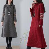 秋冬新款大尺碼女裝刺繡保暖夾絲棉保暖顯瘦打底洋裝連身裙洋裝 週年慶降價