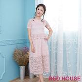 Red House 蕾赫斯-浪漫玫瑰蕾絲洋裝(共3色)
