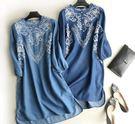 春季圓領刺繡長袖牛仔洋裝連衣裙(兩色/兩碼可選)
