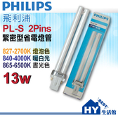 PHLIPS 飛利浦 PL-S13W 飛利浦PL-S 13W省電燈管【檯燈、崁燈專用】《HY生活館》