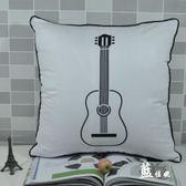 時尚吉它印花沙發靠枕 抱枕 腰枕 靠背墊