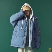 棉服女冬季連帽假兩件棉衣寬鬆加厚休閑外套【雲木雜貨】