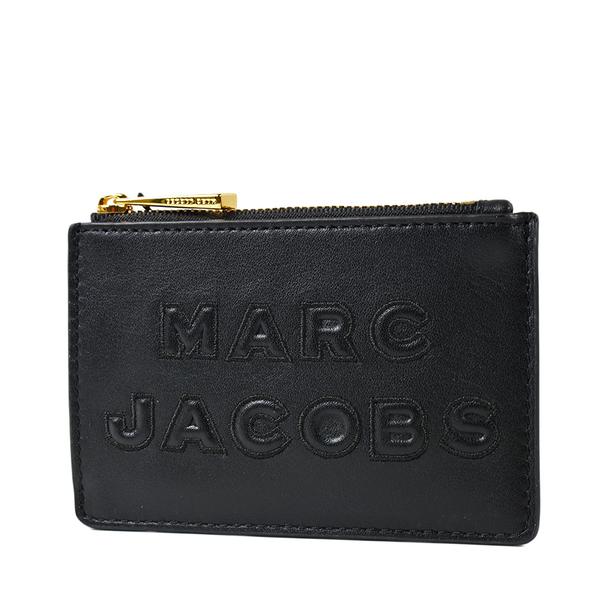 美國正品 MARC JACOBS 浮雕LOGO牛皮證件套/拉鍊零錢包-黑色【現貨】