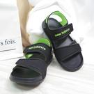 New Balance 中童鞋 魔鬼氈涼鞋 運動拖鞋 YOSPSDKL 黑綠 整數碼【iSport愛運動】
